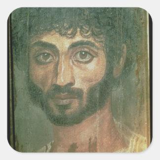 Mummy Portrait of a Man, from Fayum, Romano-Egypti Square Sticker