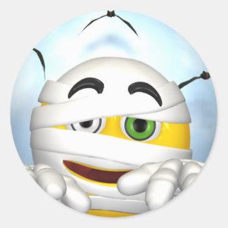 mummy smiley face round sticker