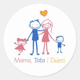 Mummy, Tata i Dzieci Round Sticker
