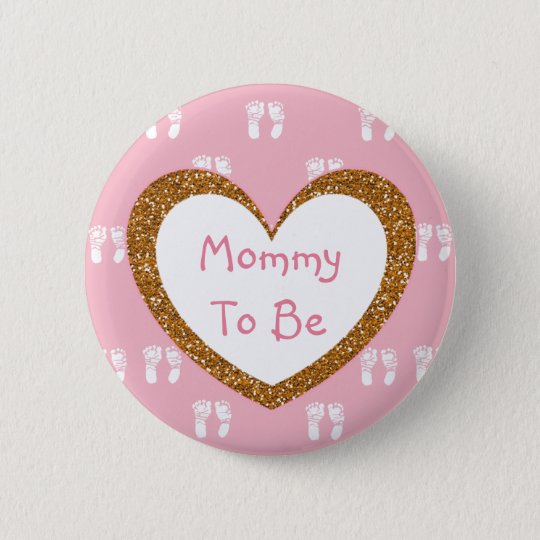 Mummy to be Baby Shower Button Pink Footprints