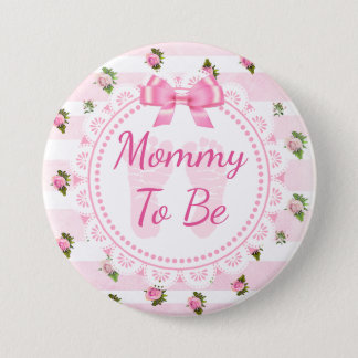 Mummy to Be Baby Shower Button Pink Roses