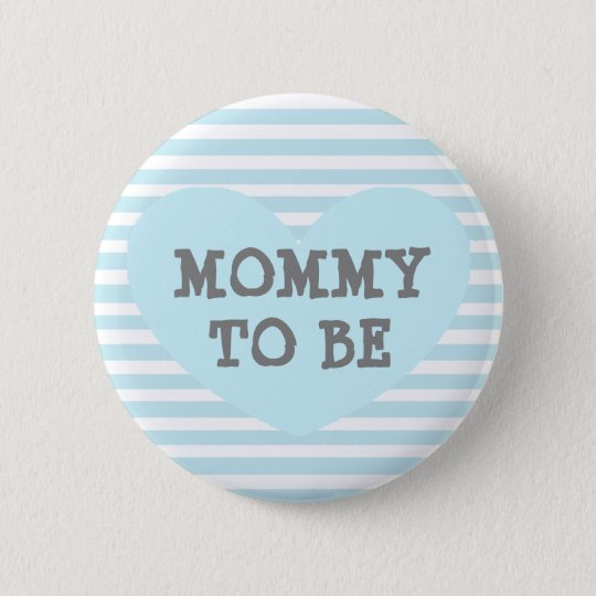 Mummy to be Pastel Blue Baby Striped Shower Button