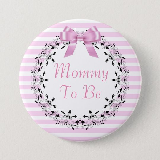 Mummy To Be Pink Striped Baby Shower Button