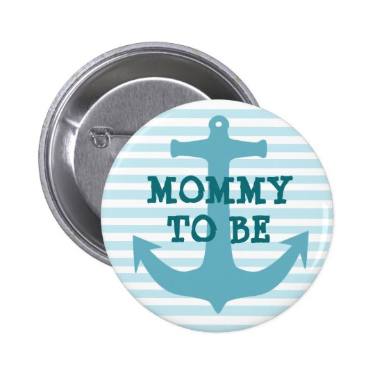 Mummy to be Teal Ancor Baby Striped Shower Button