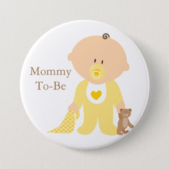 Mummy To Be Yellow Baby Button