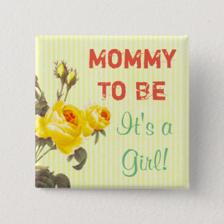 Mummy to be Yellow Roses Baby Shower Button