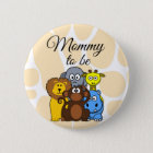 Mummy to be Zoo Animals Baby Shower button