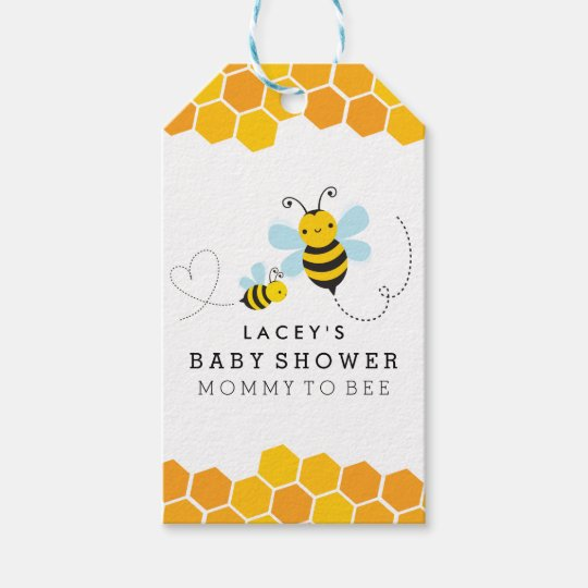 Mummy To Bee Chevron Baby Shower Gift Tags