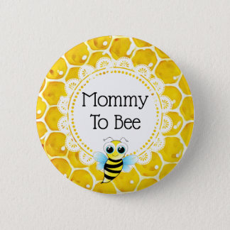 Mummy to Bee Honeycomb Baby Shower Button