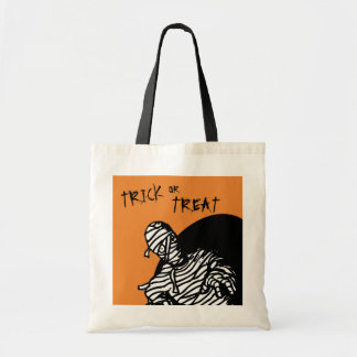 Mummy Trick or Treat Orange Background Tote Bag