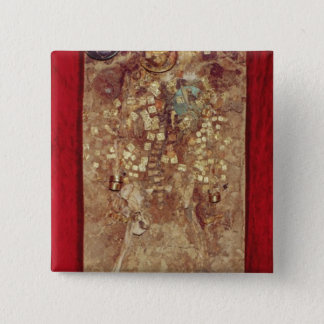 Mummy with gold crown and grave goods 15 cm square badge