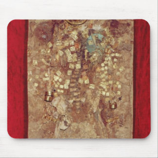 Mummy with gold crown and grave goods mouse mat