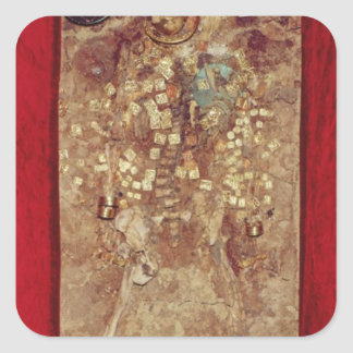 Mummy with gold crown and grave goods square sticker