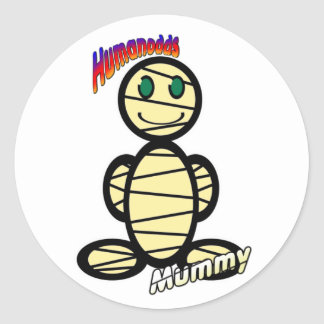 Mummy (with logos) round sticker