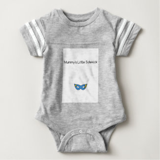 Mummy's Little Sidekick superhero mask blue Baby Bodysuit