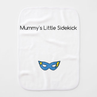 Mummy's Little Sidekick superhero mask blue Burp Cloth