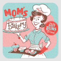 Mum's Bakery Retro Sticker — Square
