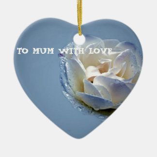 Mums Blue And White Rose Ceramic Heart Decoration