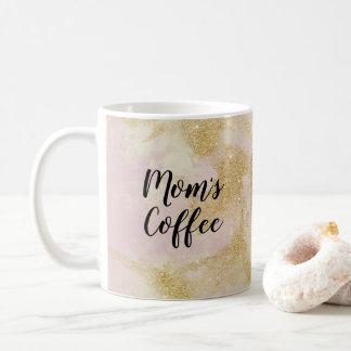 Mum's Coffee pink and gold glitter mug