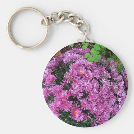 Mums in the Fall Flower Garden - Photograph Key Chain