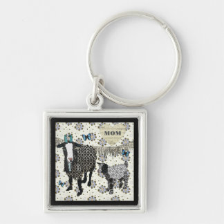 Mum's Love Junebug & Fainting Goat Baby Silver-Colored Square Key Ring