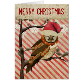 Mums Owl Striped Christmas Card