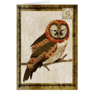 Mums Owl Vintage  Monogram Notecard