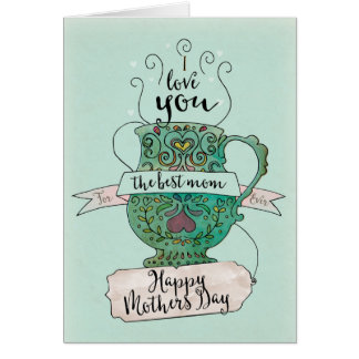 Mum's Tea Cup Illustrated Mother's Day Card