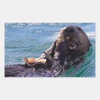 Munching Sea Otter Rectangle Stickers