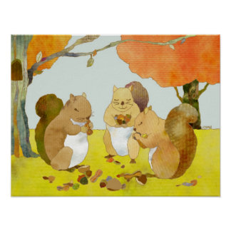 Munching Squirrels in Fall Woodland Poster