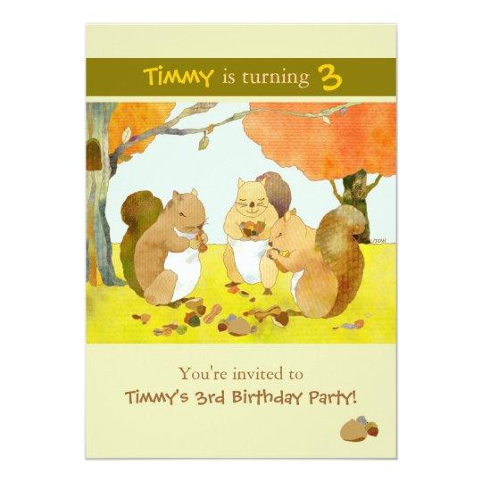 Munching Squirrels Kids Birthday Party Card