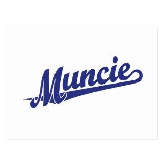 Muncie script logo in blue postcard