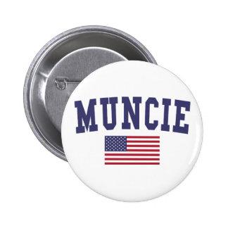 Muncie US Flag 6 Cm Round Badge
