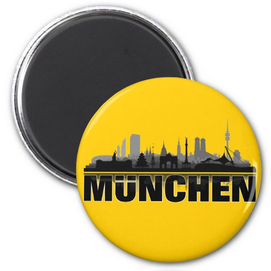 Munich city of skyline - magnet/refrigerator magnet