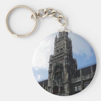 Munich Clock Tower Marienplatz Basic Round Button Key Ring