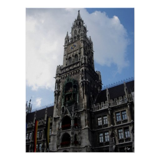 Munich Clock Tower Marienplatz, S Cyr Poster