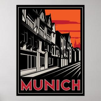 munich germany oktoberfest art deco retro poster