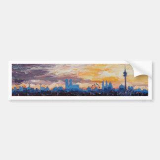 Munich Skyline At Dusk With Alps Bumper Sticker