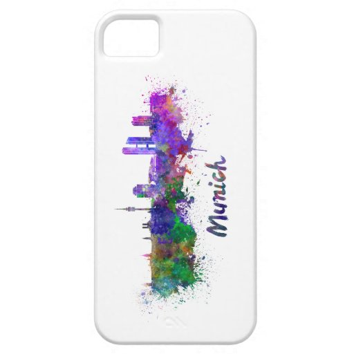Munich skyline in watercolor iPhone 5 cover