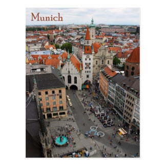Munich view Altes Rathaus from Marienplatz Postcard