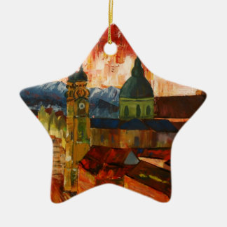 Munich With Alps Panorama Ornament