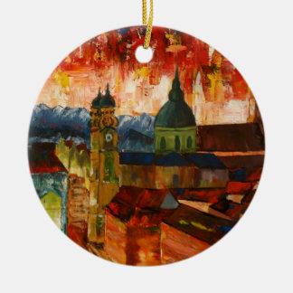 Munich With Alps Panorama Round Ceramic Decoration