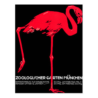 Munich Zoo Garden Flamingo Travel Art Postcard