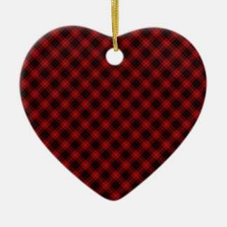Munro Clan Tartan Designed Print Ceramic Heart Decoration