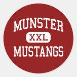 Munster - Mustangs - High School - Munster Indiana Round Stickers