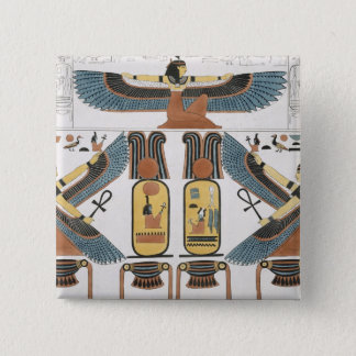 Mural from the Tombs of the Kings at Thebes, disco 15 Cm Square Badge