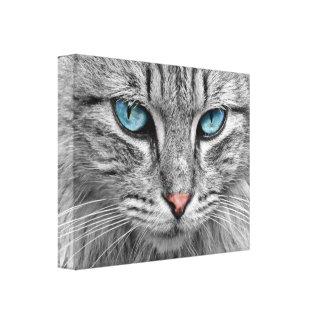 Mural, ice-blue cat eyes canvas print