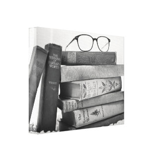 Mural of books stretched canvas print