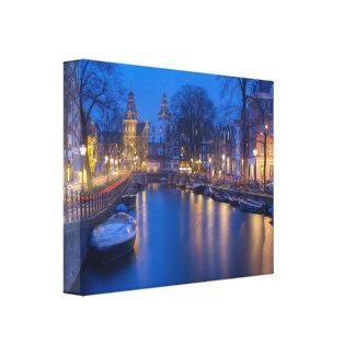 Mural river in Amsterdam Canvas Prints