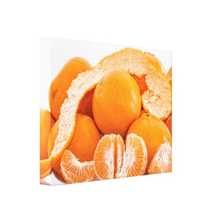 Mural tangerine stretched canvas print